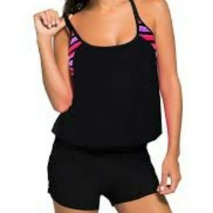 Striped Print Insert Padded Black Tankini Top